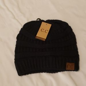 CC Solid Ribbed Navy Blue Beanie
